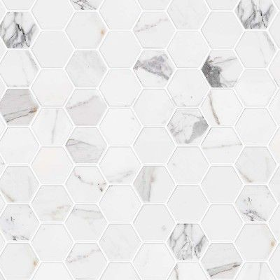 Carrara Marble Hexagonal Mosaic Washable Vinyl Self Adhesive For Furniture Walls An Floor Kitchen In 2020 Emser Hexagonal Mosaic Glass Mosaic Tiles