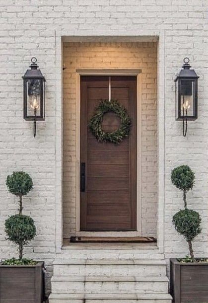 Front Porch Inspiration Green Wreath Green Topiaries Simple Clean And Elegant Who Else House With Porch Front Porch Lighting Exterior Wall Light