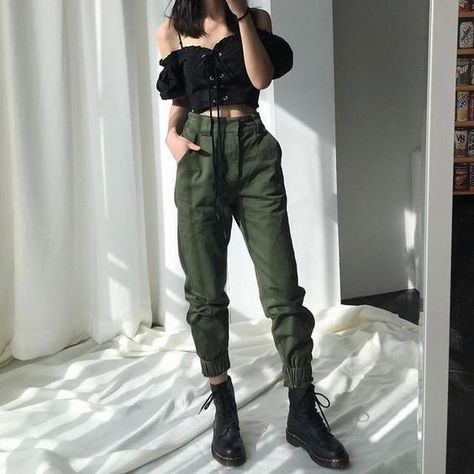 High waisted pants camouflage loose joggers women army harem camo pants streetwear punk black cargo pants women capris pants in High waist trousers - New Site