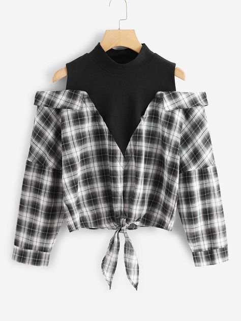 Young Preppy Tartan Top Regular Fit Stand Collar Long Sleeve Pullovers Black and White Regular Length Plaid Cold Shoulder Knot Hem 2 In 1 Blouse