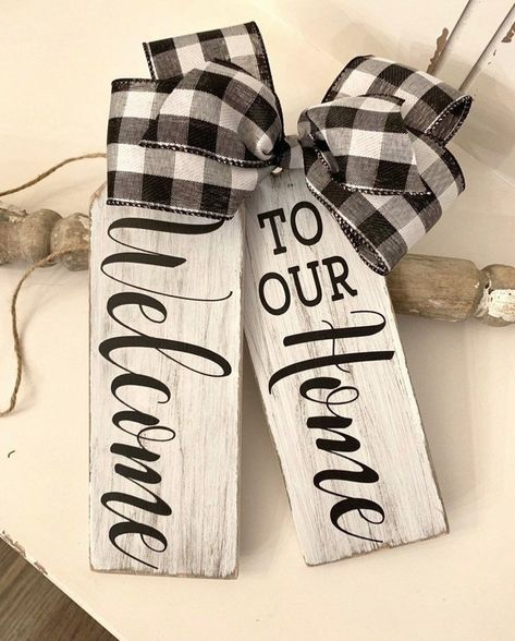 Excited to share this item from my shop: Welcome To Our Home Wood Door Tags- Front Door Decor- Front Porch- Front Door Decorations- Plaid Decor- House Warming Gift- Wood Tags Front Door Signs, Front Door Decor, Front Porch, Chalk Crafts, Wood Crafts, Welcome Wood Sign, Plaid Decor, Wood Tags, Wooden Door Hangers
