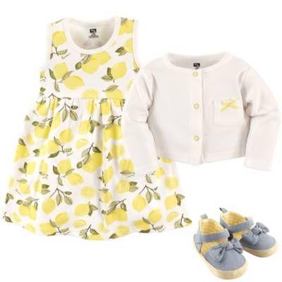 Cardigan and Shoes Flamingos Hudson Baby Girl Dress 3-Piece Set