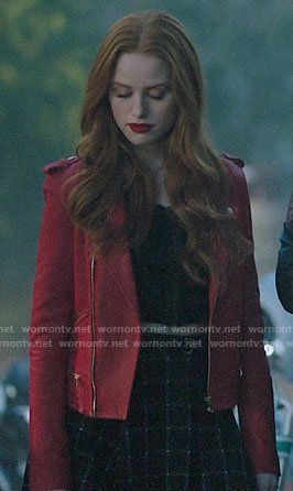 Cheryl S Red Leather Jacket And Checked Skirt On Riverdale