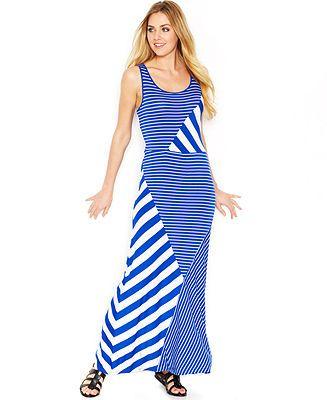 kensie striped maxi dress