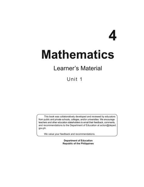 K To 12 Grade 4 Learner S Material In Mathematics Q1 Q4