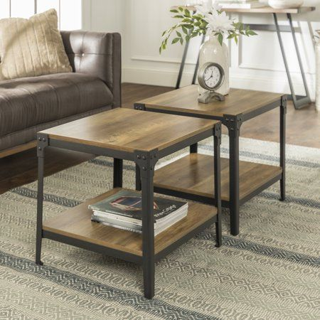 Wilson Reclaimed Barnwood Set Of Two End Tables By River Street Designs Walmart Com Living Room Table Sets Farmhouse End Tables Living Room Table Set of two end tables
