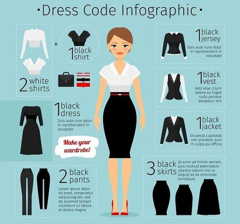 Business woman clothes infographics. Female Business dress code. Vector illustration
