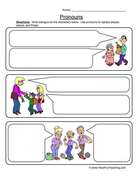 Pronouns Dialogue Worksheet Have Fun Teaching Have Fun Teaching Pronoun Examples Writing Practice