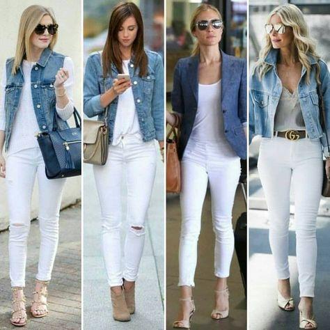 look inspiração CALÇA branca e JEANS ❣️ . . @moda.beleza