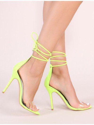 Jorja Lace Up Heels in Neon Yellow