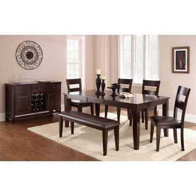 Steve Silver 6 Piece Victoria Dining Table Set With Bench