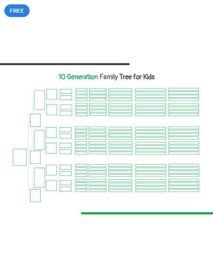 Free 10 Generation Family Tree Template For Kid S Tree