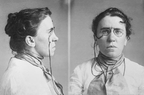 Emma Goldman mugshot. Arrested for distributing information on birth control to women ~  Guess she wouldn't be working at Hobby Lobby if she were alive today!