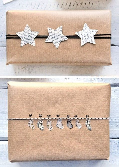 DIY - 9 schöne und wirkungsvolle Verpackungen für Weihnachtsgeschenke mit Packpapier und einfachen M