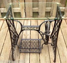 Antique Singer Cast Iron Treadle Base Sewing Machine Gl Top Table Beautiful