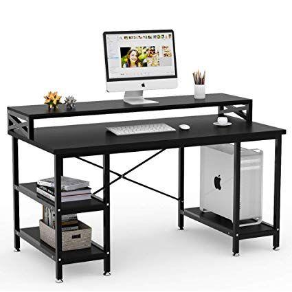 Fantastic Tribesigns Computer Desk With Storage Shelves 55 Large Home Interior And Landscaping Ferensignezvosmurscom
