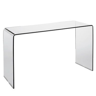 Dwell Clear Puro Glass Desk Console Table London