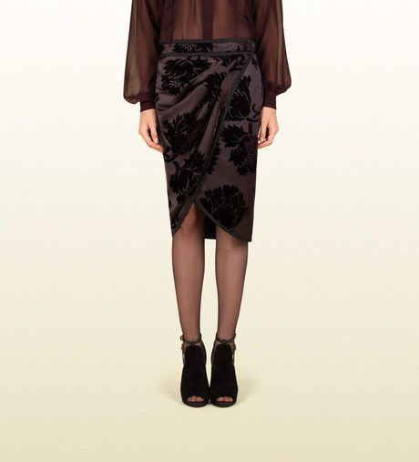 611531a9c Gucci Satin Gathered Wrap Skirt with Velvet Flowers in Purple (plum) - Lyst  fall 2013 This reminds me of the short schenti from the old kingdom