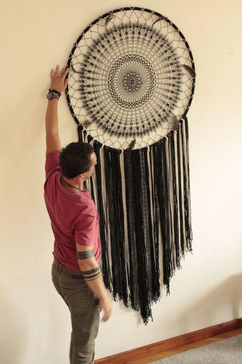 This beautiful giant black dream catcher wall hanging is a beautiful statement of the bohemian style. The crochet part of the dream catcher took about a week to make! This black bohemian wall decor has a magnetic energy of a handmade item. It is made of crochet doily, lace,