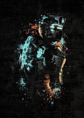 Dead Space Splatter Gaming Poster Print Metal Posters Dead Space Space Poster Space Art