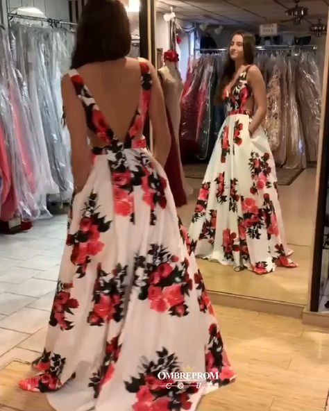 Sexy A-line V-neck Spring Floral Printed Long Prom Dress With Pockets OP502 #floralpromdresses #prom