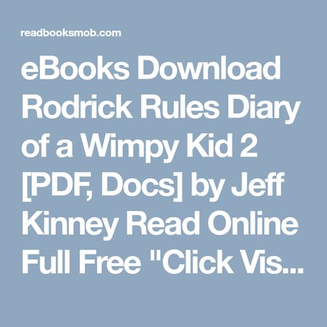 download diary of a wimpy kid rodrick rules ebook for free