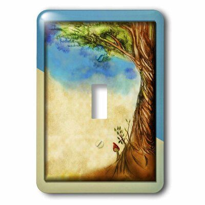 3drose Lone Mushroom With Tree 1 Gang Toggle Light Switch Wall Plate Wayfair In 2020 Toggle Light Switch Light Switch Plates On Wall
