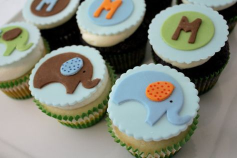 elephant cupcakes #cupcake #elephants #baby_shower