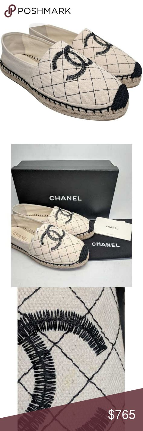 bad88b0d6b8 Chanel Beige   Black Quilted Espadrille Flats Size  EU 38 (Approx. US 8
