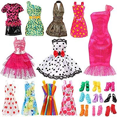 16 Clothes Party Gown Outfit+98 Shoes Bag Necklace Mirror Hanger For Barbie Doll