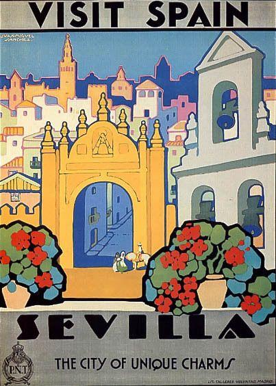 Details About Visit Spain Sevilla The City Of Unique Charms Travel Vintage Poster Repro Vintage Posters Vintage Travel Posters Vintage Travel
