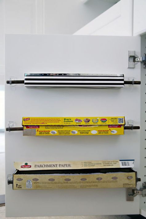 Ideas for the Kitchen Organization – Command Strips, Hooks apartment therapy - Kitchen Remodel Diy Kitchen Storage, Diy Storage, Kitchen Decor, Kitchen Design, Kitchen Ideas, Paper Storage, Design Bathroom, Extra Storage, Kitchen Stuff