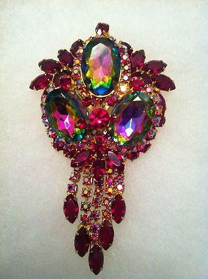 Vintage Juliana D/&E Verified with Puddling Amethyst Sapphire Emerald AB Rhinestone Statement Brooch Vintage Juliana Jewelry