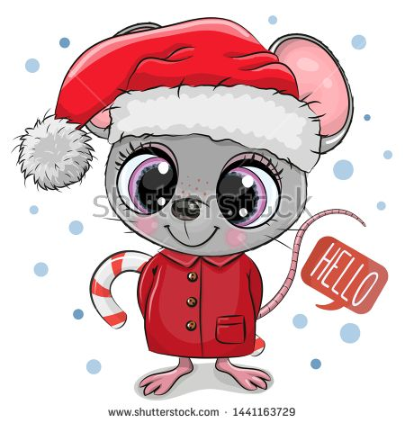 Stock Vector Cute Cartoon Mouse In Santa Hat On A White Background Cute Cartoon Christmas Characters Kids Cartoon Characters