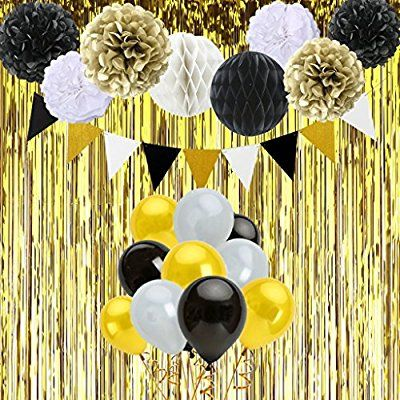 Black And Gold Birthday Decorations With Banner Tissue Paper Pom
