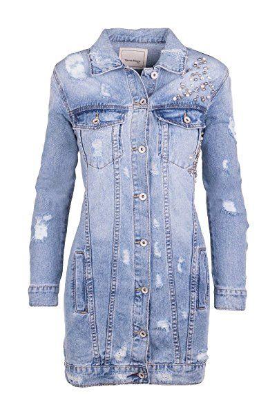 Damen Langer CutOuts Rippen Jeans Jacke mit Strasssteinen