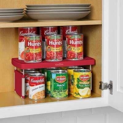 Storemore Plastic Adjustable Shelf Riser In Red 2 Pack Kitchen Shelves Organization Kitchen Cabinet Organization Kitchen Cabinet Remodel