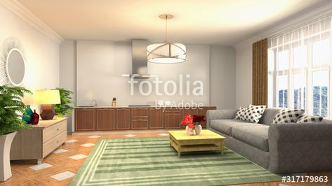Interior of the living room. 3D illustration , #AD, #living, #Interior, #illustration, #room #Ad