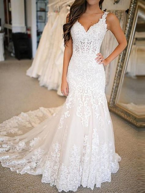 Wonderful Perfect Wedding Dress For The Bride Ideas. Ineffable Perfect Wedding Dress For The Bride Ideas. Western Wedding Dresses, Long Wedding Dresses, Wedding Dress Styles, Bridal Dresses, Wedding Dresses With Color, Wedding Dresses Tight Fitted, V Neck Wedding Dress, Applique Wedding Dress, Lace Applique