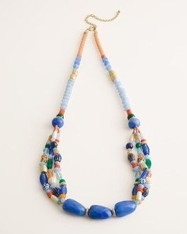 Large flower pendant black beads long necklace Pink Blue Multi-colour UK seller