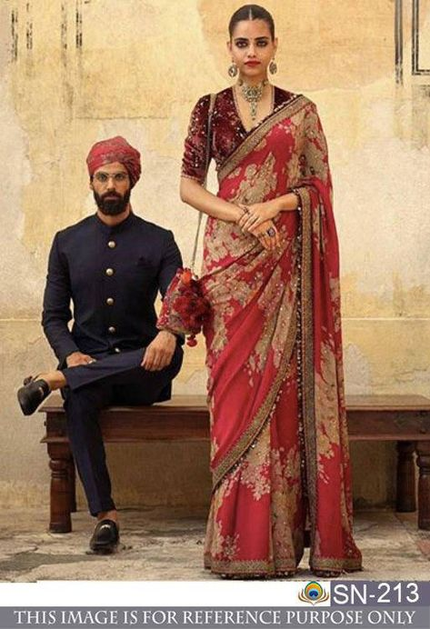 2019 Sabyasachi Charbagh Bridal Lehenga collection has a bunch of traditional red wedding lehengas, some gorgeous destination wedding outfits + lots more. Sari Blouse, Saree Blouse Designs, Saree Dress, Sari Bollywood, Bollywood Fashion, Bollywood Style, Indian Wedding Gowns, Saree Wedding, Indian Weddings