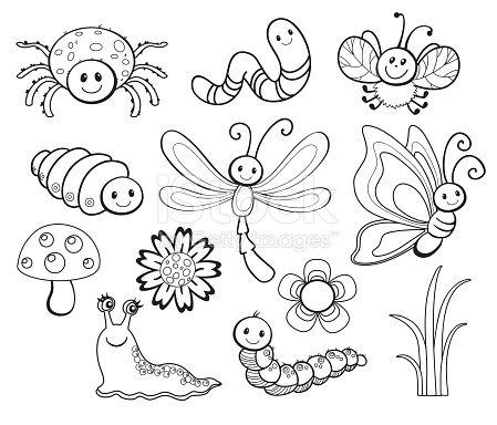 Vector Set Of Cute Cartoon Bug Line Art Coloring Vector Id494711206 449 384 Pixels Clip Art Art Drawings For Kids Bugs Drawing