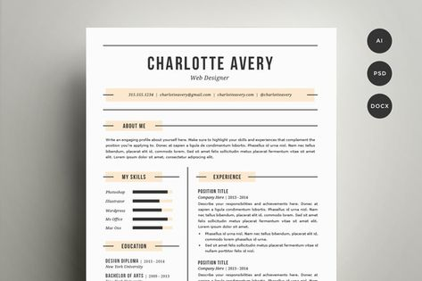Check Out Resume Template 4 Pack CV Template By Refinery Resume   One Page  Resume Examples