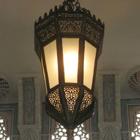 High End Moroccan Pendant lamp, brass fixture in our California showroom.