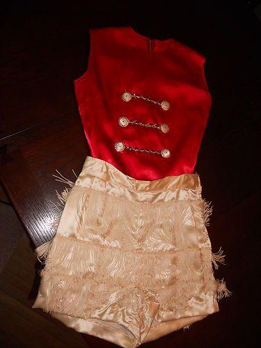 Rare Vintage 1940's Satin Majorette Uniform-Red with White Shorts-Fringe