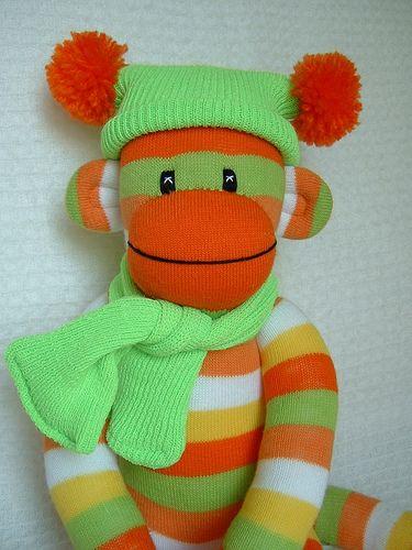 Happy Citrus Sock Monkey! by sunsetgirl creations, via Flickr