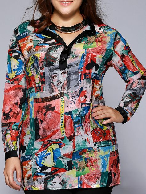 Oversized Stylish Beauty Print Metal Buttoned Blouse For Women
