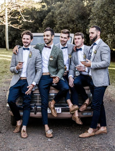 bow tie groomsmen in gray