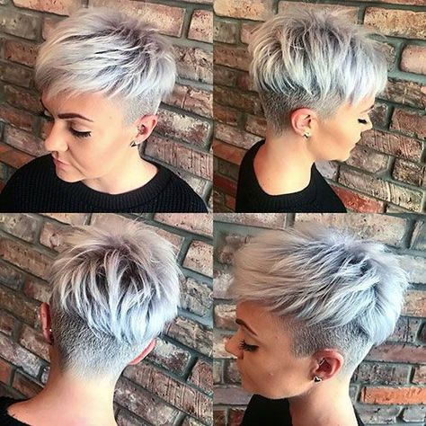 Hottest pixie hairstyles for short hair to wear in 2019 Short Grey Hair Hair Hairstyles Hottest Pixie Short Wear Cabelo Pixie Undercut, Pixie Cut With Undercut, Short Hair Undercut, Undercut Women, Funky Short Hair, Short Grey Hair, Short Hair Styles, Cropped Hair Styles For Women, Grey Pixie Hair