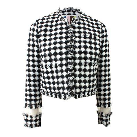 MSGM Organza-Paneled Tweed Jacket